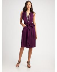 Elie Tahari | Purple Stretch Silk Georgette Dress | Lyst