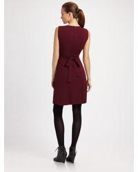 Elie Tahari | Red Ruffle-front Stretch Silk Dress | Lyst