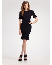 Fendi | Blue Ruffle-edged Knit Dress | Lyst