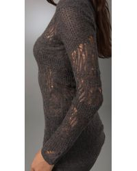 Helmut Lang - Gray Fine Lace Boatneck Sweater in Medium Grey - Lyst