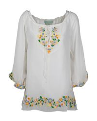 Leaves Of Grass - White Chelsea Draw String Embroidered Top - Lyst