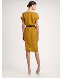 Max Mara - Yellow Zurlo Short Sleeve Belted Dress - Lyst