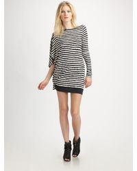 McQ | White Asymmetrical Stripe Jersey Dress | Lyst