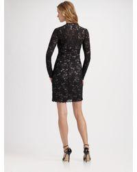 Nicole Miller - Black Long Sleeve Lace V-neck Dress - Lyst