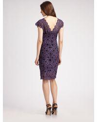 Nicole Miller - Purple Lace Cap Sleeve V-neck Dress - Lyst