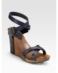 See By Chloé | Black Navy Wood Wedge Sandal | Lyst