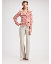 St. John | Pink Calypso Plaid Knit Blazer | Lyst