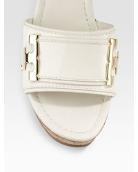 Tory Burch - White Patent Leather Wedge Slides - Lyst