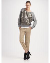 VINCE | Gray Sequined Sweatshirt | Lyst