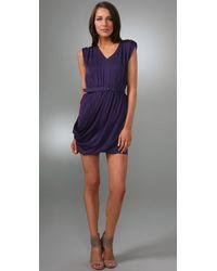 Alice + Olivia | Purple Belted Silk Wrap Dress | Lyst