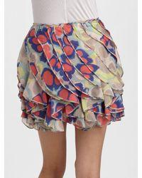 Diane von Furstenberg - White Zelie Crystal-embellished Printed Wool-blend Skirt - Lyst