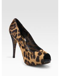 Dolce & Gabbana | Multicolor Pony Hair Peep-Toe Pumps | Lyst