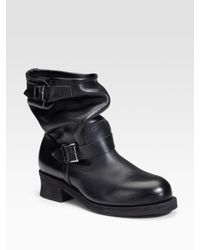 Junya Watanabe | Black Flat Biker Boots | Lyst