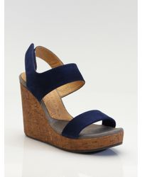 Chie Mihara | Blue Suede Cork-wedge Sandals | Lyst