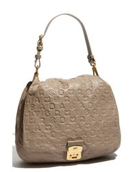 Marc By Marc Jacobs | Gray Dreamy Logo - Lil Gg Embossed Leather Shoulder Bag | Lyst