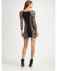 BCBGMAXAZRIA - Black Ruched Panel Mini Dress - Lyst