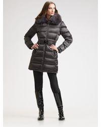 Prada | Gray Fur-trimmed Down Jacket/white Fox | Lyst