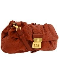 Marc By Marc Jacobs | Brown Dreamy Logo - Linda Embossed Leather Clutch | Lyst