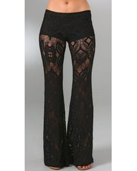 Nightcap | Black Lace Bell Bottom Pants | Lyst