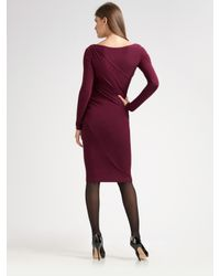 Donna Karan - Purple Jersey V-neck Dress - Lyst