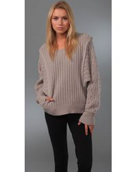 Preen By Thornton Bregazzi | Brown Cable Knit Lambswool Coco Sweater | Lyst