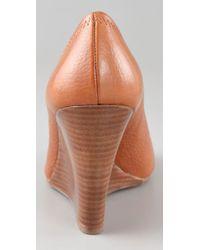 Tory Burch - Brown Julianne Peep Toe Wedge Heels - Lyst