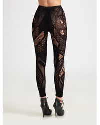 Alexander McQueen - Purple Footless Lace Tights - Lyst