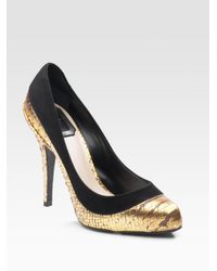 Dior | Black Duo Stamped Python Pumps | Lyst
