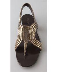 Elizabeth and James - Metallic Rhoda Trapunto Flat Sandals - Lyst