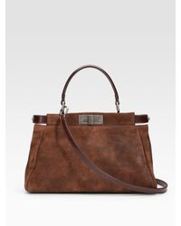 Fendi | Brown Small Suede Peekaboo Tote | Lyst