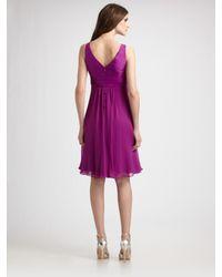Teri Jon - Purple Rosette Silk Cocktail Dress - Lyst