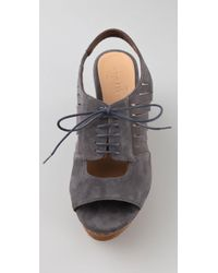 Coclico - Gray Mande Cork Wedge Suede Sandals - Lyst
