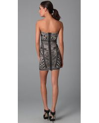 Hervé Léger - Black Strapless Jacquard Mini Dress - Lyst
