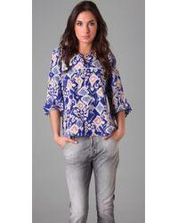 Tucker | Blue Silk Ikat Print Blouse | Lyst