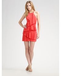 BCBGMAXAZRIA | Tiered Silk Halter Dress | Lyst