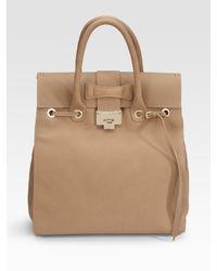 Jimmy Choo | Natural Rosabel Grainy Calf Large Top Handle Bag | Lyst