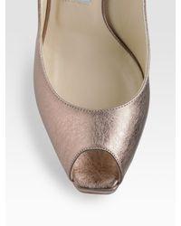 Jimmy Choo | Pink Clue Metallic Leather Peep-toe Pumps | Lyst