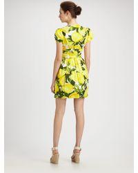 Boutique Moschino - Yellow Lemon Stretch Poplin Dress - Lyst