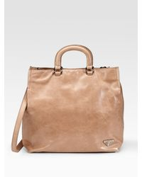 Prada | Brown Vitello Shine Tote | Lyst
