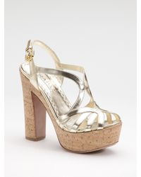 3ccd1e8cb16 Lyst - Prada Metallic Cork-bottom Platform Sandal in Metallic