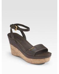Prada | Gray Cork Wedge Sandals | Lyst