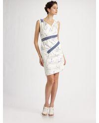 Thakoon | Blue Floral Cotton-sateen Hook & Eye Dress | Lyst