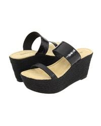 Elizabeth and James - Black Boca Leather and Raffia Wedge Sandals - Lyst