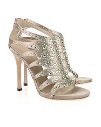 Gucci | Metallic Crystal-embellished Silk-satin Sandals | Lyst