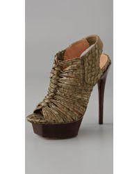 L.A.M.B.   Green Olive Embossed Snake Charisma Platform Sandals   Lyst