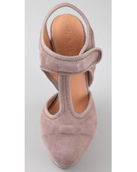 L.A.M.B. - Pink Caitlyn Suede T Strap Wedges - Lyst