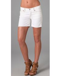 Madewell | White Denim Midi Shorts | Lyst