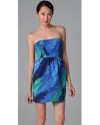 Shoshanna - Blue Printed Strapless Dress - Lyst