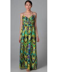 Shoshanna | Green Long Draped Dress | Lyst