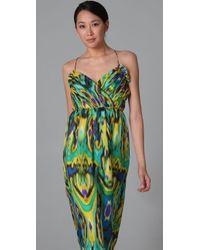 Shoshanna - Green Long Draped Dress - Lyst
